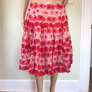 Ann Taylor Spring cotton skirt, red roses!